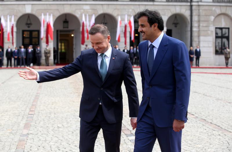 Prezydent Duda i emir Kataru szejk Tamim ibn Hamad Al-Thani fot. Rafał Guz/EPA