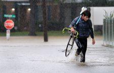 Major flooding hits the city of Houston, Texas after Hurricane Harvey makes landfall as a tropical storm