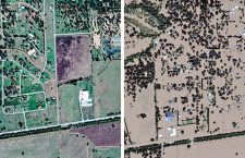 Satellite images showing Texas areas before and after Hurricane Harvey