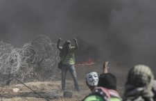 Clashes by Gaza-Israeli border, Eastern Gaza Strip, --- - 14 May 2018