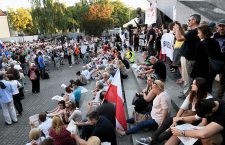 People gather in Warsaw to protest amendment of Supreme Court act, Poland - 04 Jul 2018