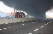 Fire caused by an accident between cars in Borgo Panigale near Bologna, Italy - 06 Aug 2018