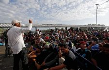 Honduran migrants are still waiting on the bridge to enter Mexico, Tecun Uman, Guatemala - 21 Oct 2018