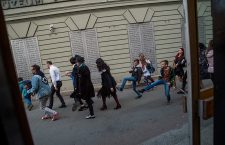 Flashmob of silly walks in Budapest, Hungary - 01 Apr 2019