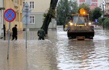 Heavy rain and flooding in Elblag, Poland - 18 Sep 2017